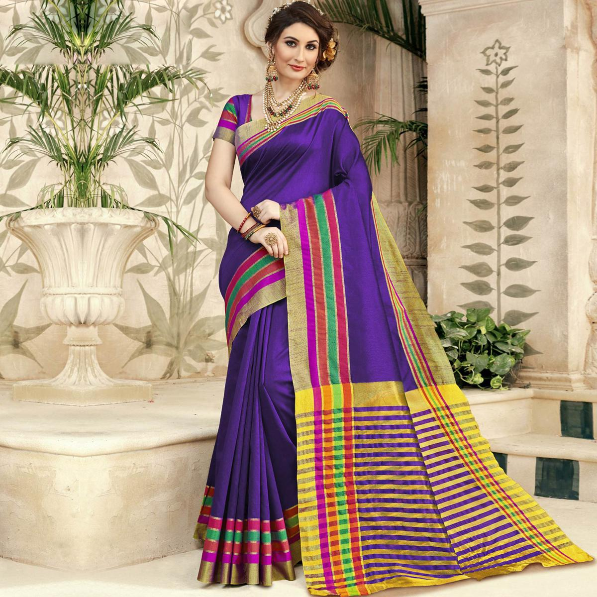 Appealing Purple Colored Festive Wear Woven Silk Saree