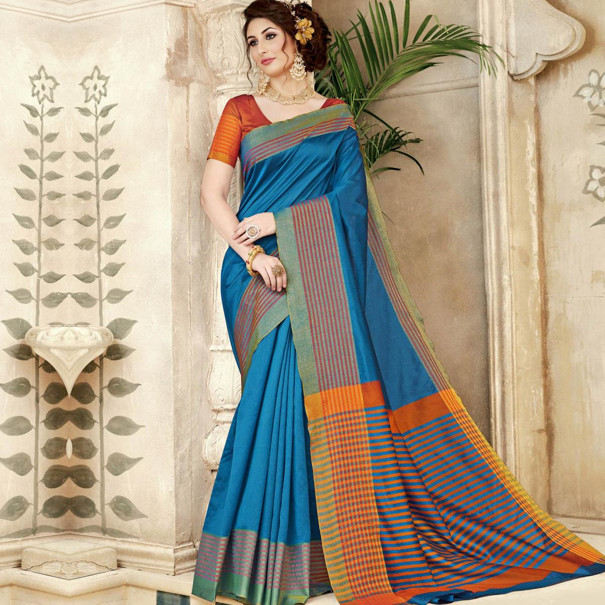 Intricate Blue Colored Festive Wear Woven Silk Saree