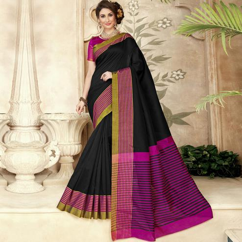 Sophisticated Black Colored Festive Wear Woven Silk Saree
