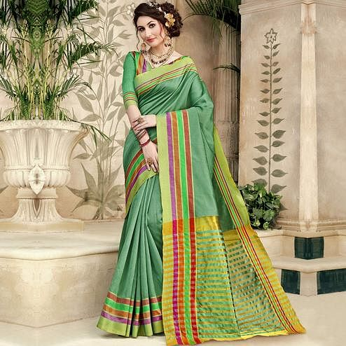 Demanding Green Colored Festive Wear Woven Silk Saree