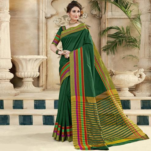 Pleasant Dark Green Colored Festive Wear Woven Silk Saree