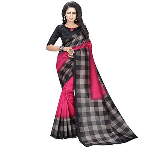 Gorgeous Pink - Black Checkered Printed Saree