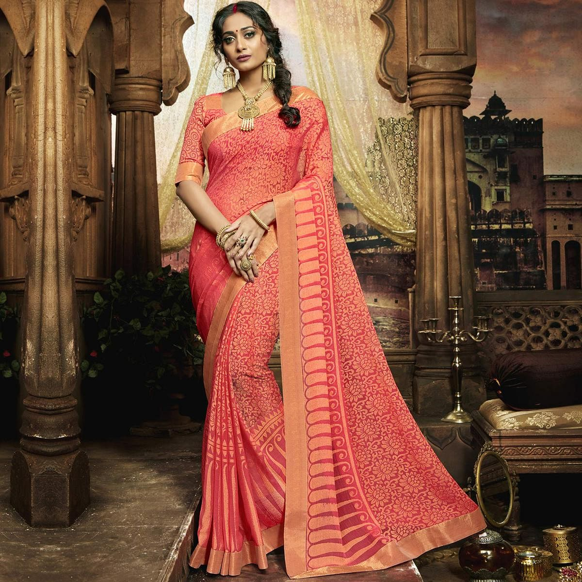 Elegant Pink Colored Casual Printed Chiffon Saree