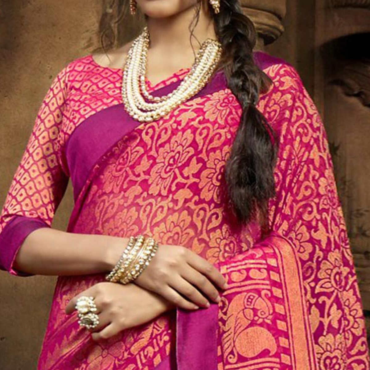 Radiant Pink Colored Casual Printed Chiffon Saree