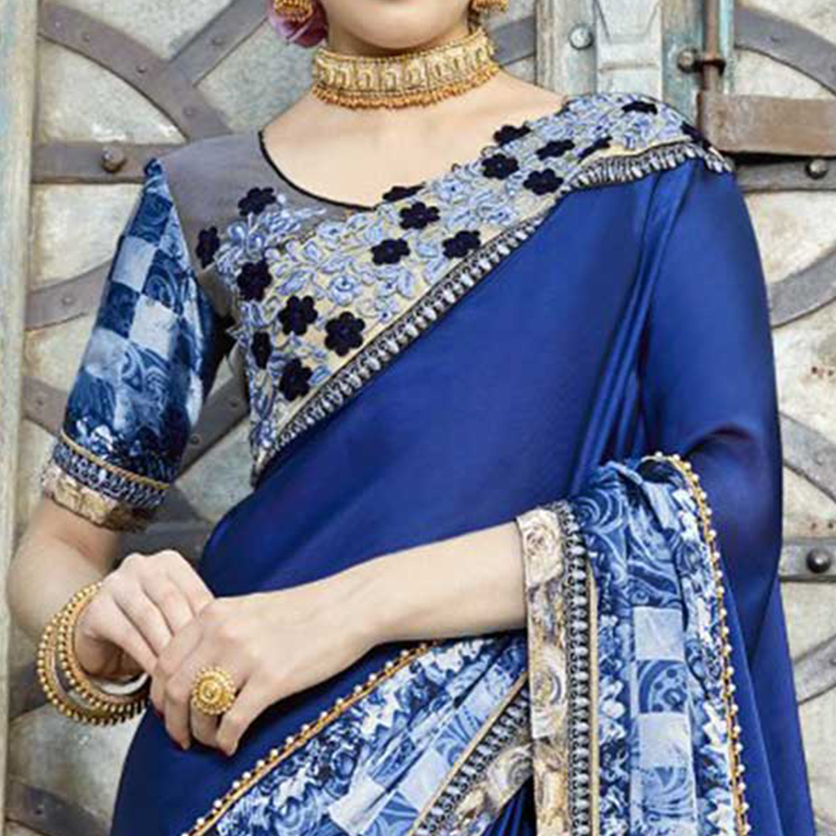 Breathtaking Blue Colored Partywear Embroidered-Printed Pure Georgette Saree