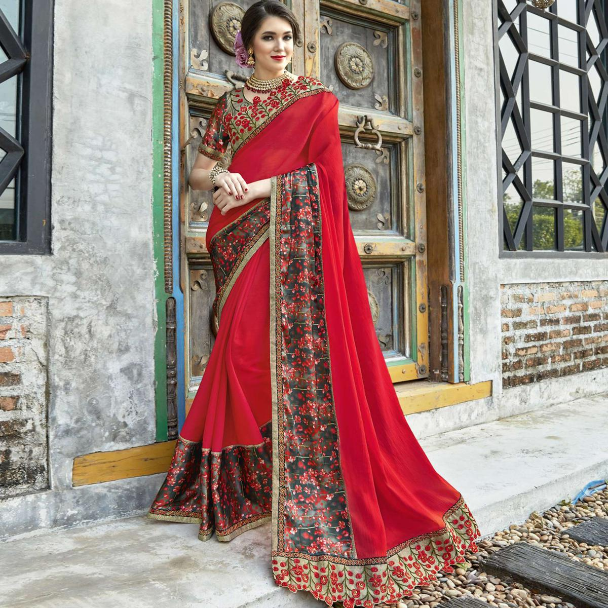 Impressive Red Colored Partywear Embroidered-Printed Chiffon Saree