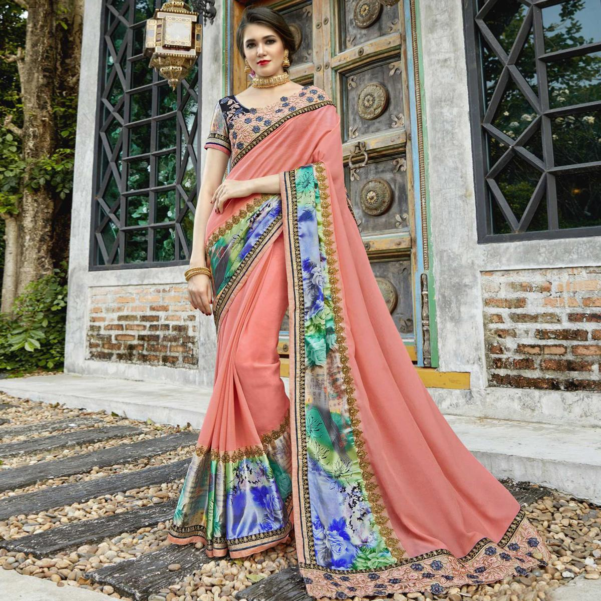 Innovative Peach Colored Partywear Embroidered-Printed Pure Georgette Saree