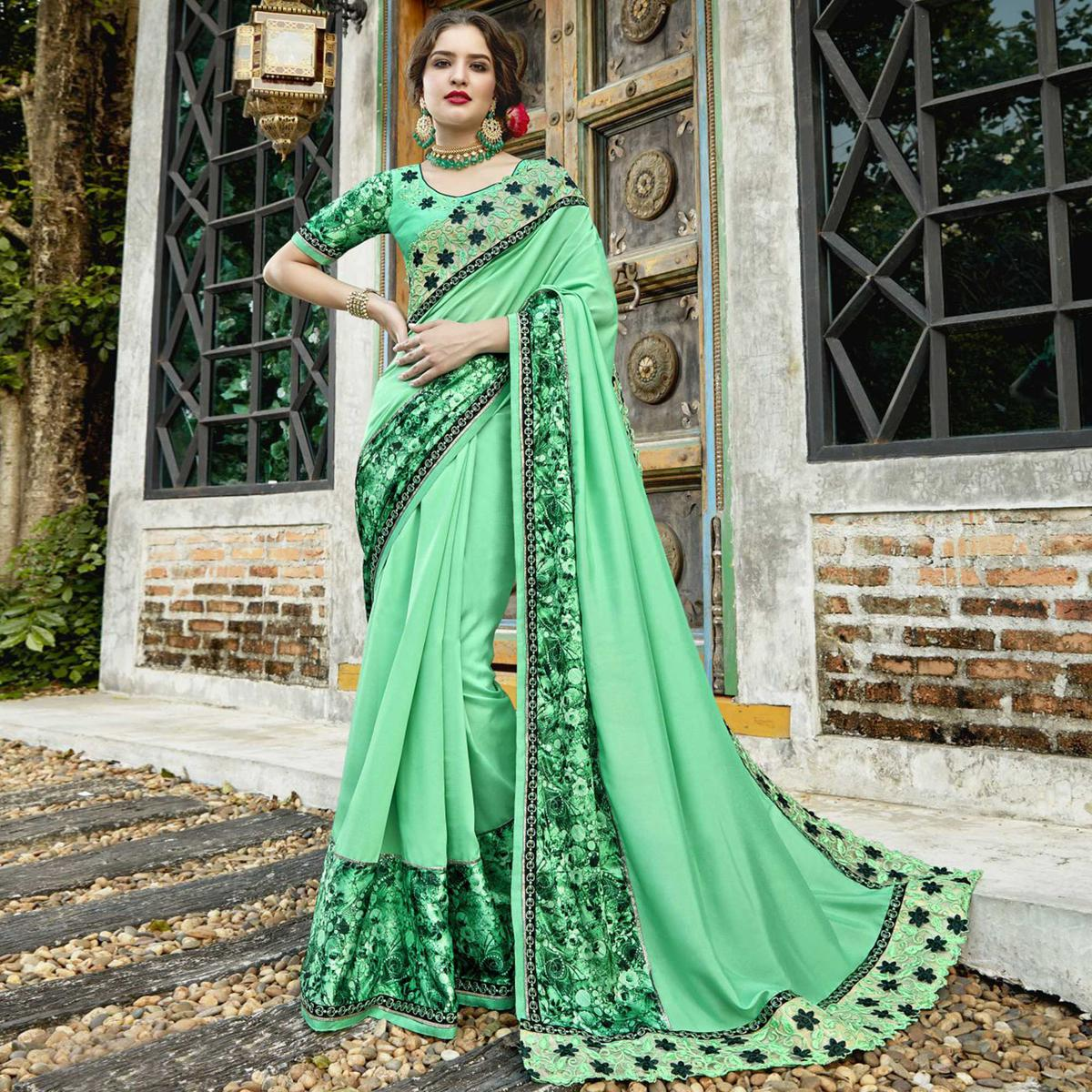 Gleaming Pista Green Colored Partywear Embroidered-Printed Pure Georgette Saree