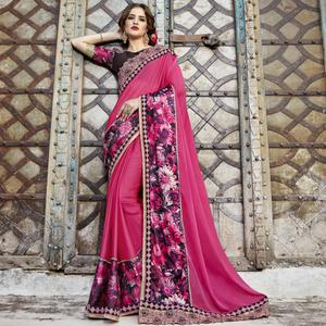 Arresting Deep Pink Colored Partywear Embroidered-Printed Pure Georgette Saree
