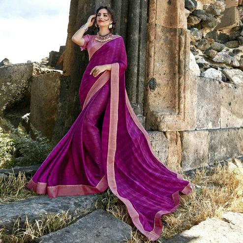 Excellent Magenta Pink Colored Casual Printed Georgette Saree