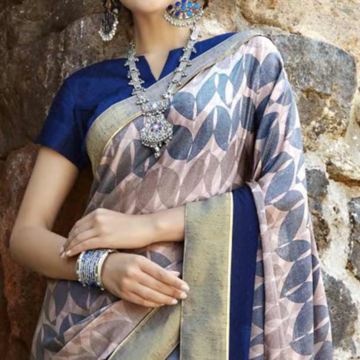 Ethnic Multi Colored Casual Printed Georgette Saree