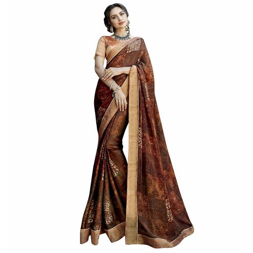 Surpassing Dark Brown Colored Casual Printed Georgette Saree