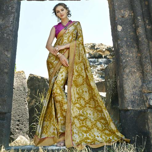 Imposing Lemon Green Colored Casual Printed Georgette Saree