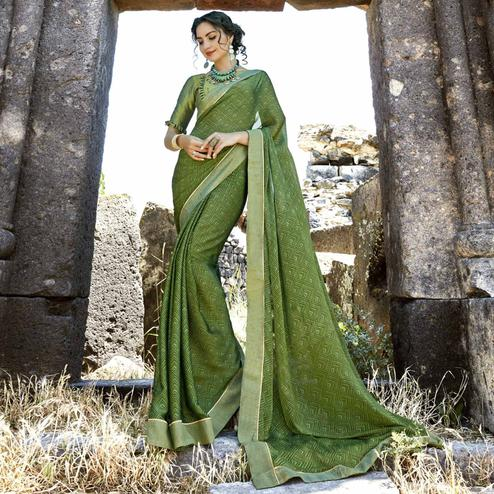 Blissful Green Colored Casual Printed Georgette Saree