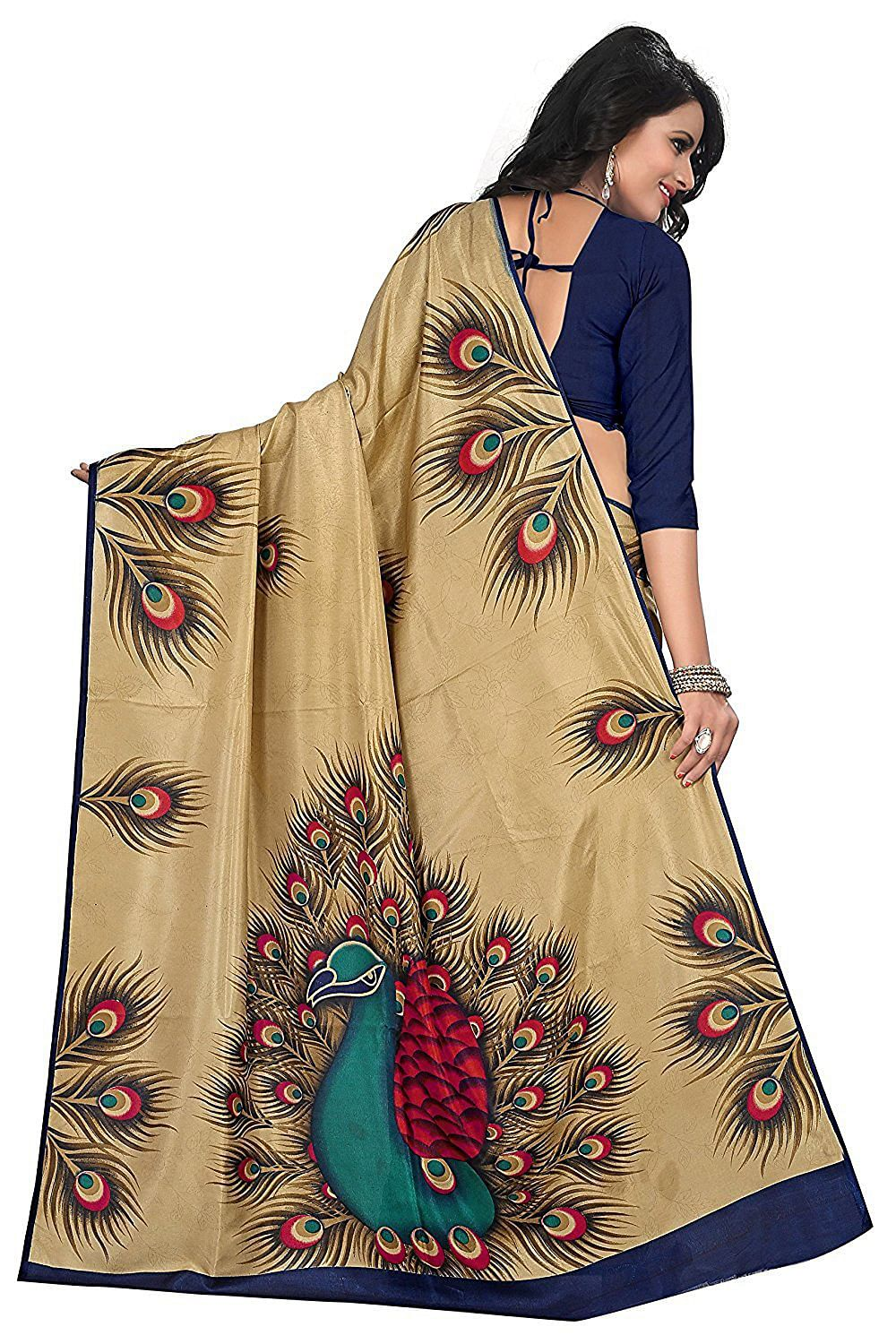 Beige Peacock Design Casual Wear Saree