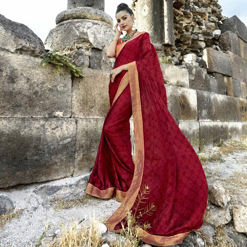 Ideal Red Colored Casual Printed Georgette Saree