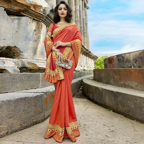 Amazing Light Orange Colored Partywear Embroidered Chanderi Silk Saree