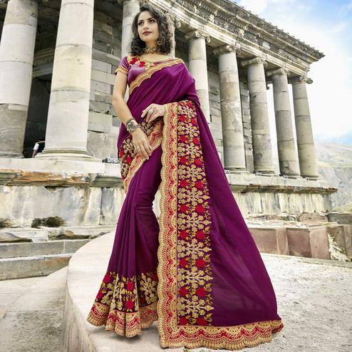 Fantastic Dark Violet Colored Partywear Embroidered Art Silk Saree