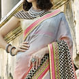 Pleasance Gray-Pink Colored Partywear Embroidered Georgette Saree