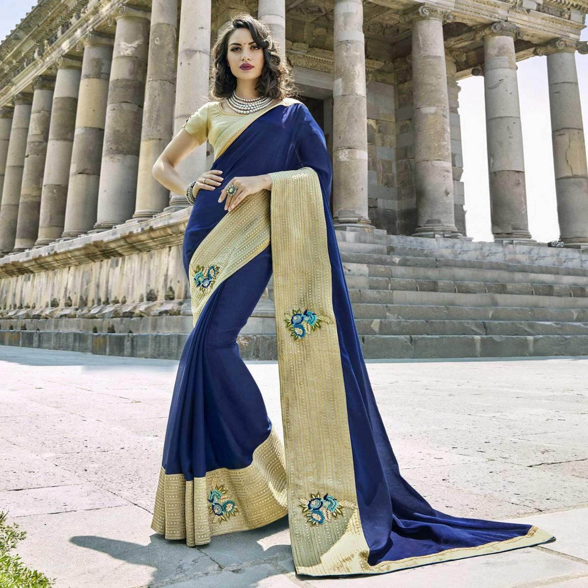 Lovely Navy Blue Colored Partywear Embroidered Georgette Saree