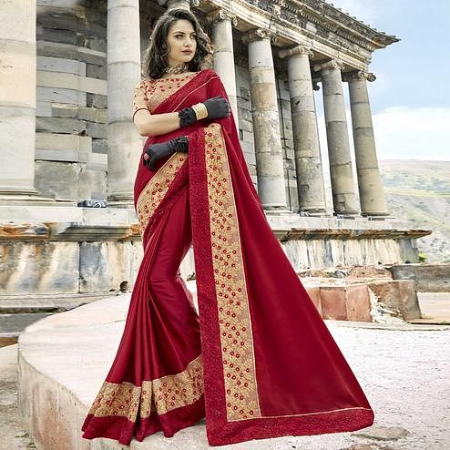 Pretty Maroon Colored Partywear Embroidered Chanderi Silk Saree