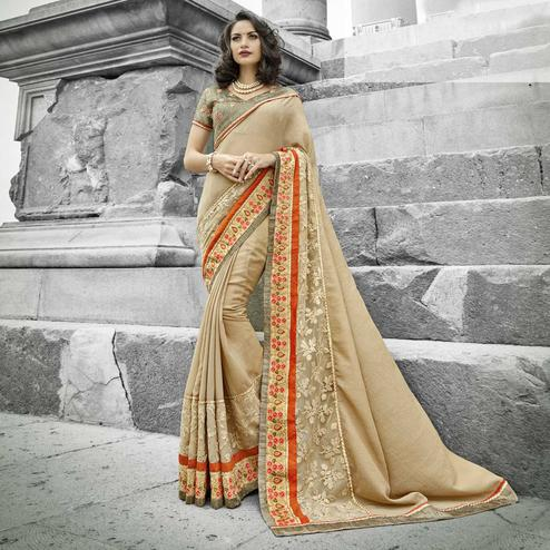 Charming Chiku Colored Partywear Embroidered Chiffon Saree