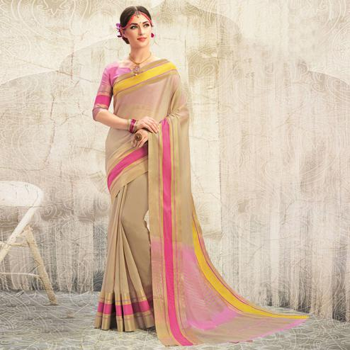 Ravishing Beige Colored Casual Wear Georgette Saree