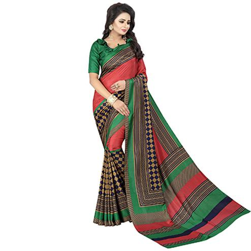 Red & Green Printed Casual Wear Saree