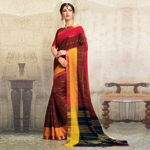 Delightful Maroon Colored Casual Wear Georgette Saree