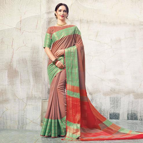Stunning Rust Orange Colored Casual Wear Georgette Saree
