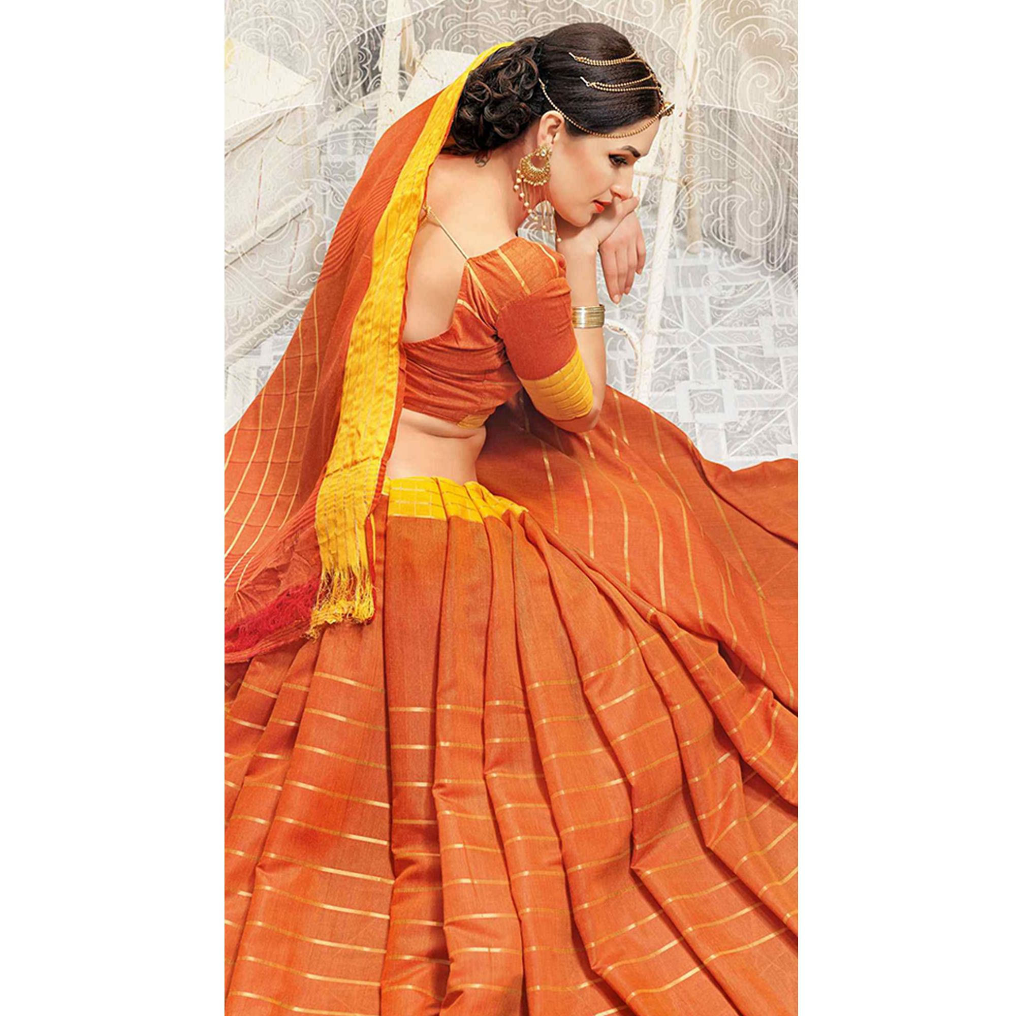 Blooming Orange Colored Casual Wear Georgette Saree