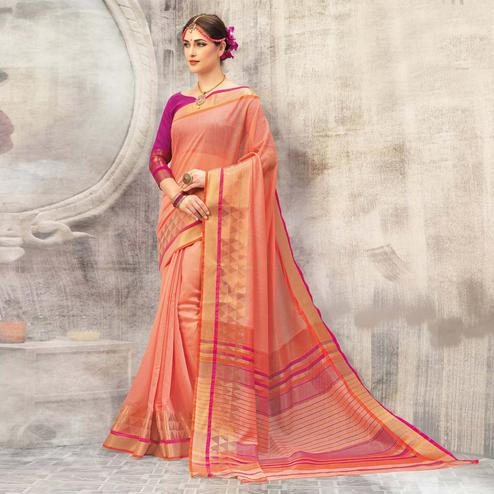 Marvellous Peach Colored Casual Wear Cotton Saree