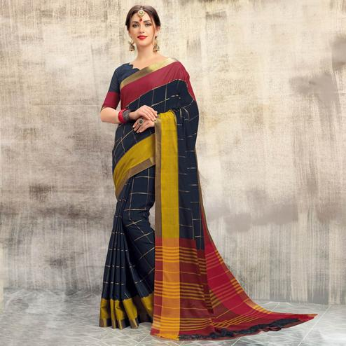 Mesmerising Navy Blue Colored Casual Wear Cotton Saree