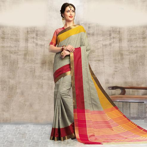 Ravishing Gray Colored Casual Wear Cotton Saree