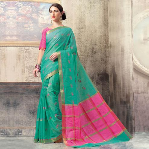 Eye-catching Aqua Green Colored Casual Wear Cotton Saree