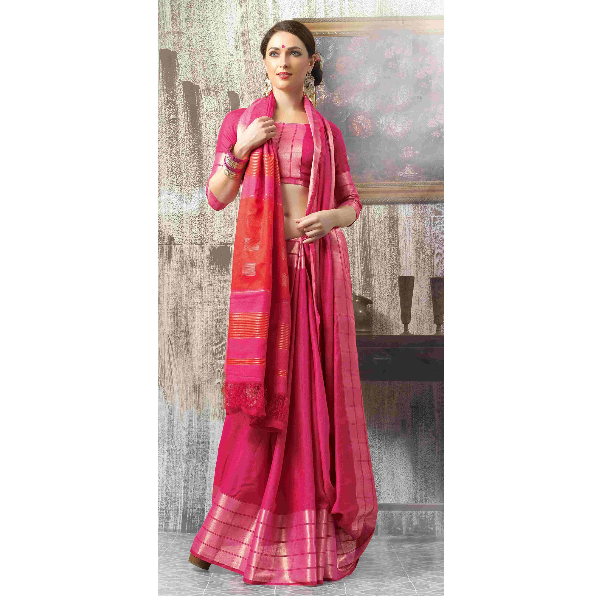 Amazing Pink Colored Casual Wear Cotton Saree