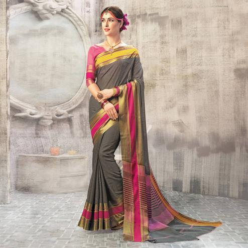Exotic Dark Gray Colored Casual Wear Cotton Saree