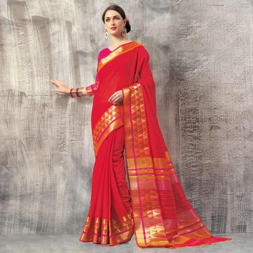 Majesty Red Colored Casual Wear Cotton Saree
