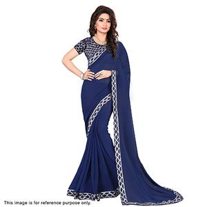 Navy Blue Thread Work Georgette Saree