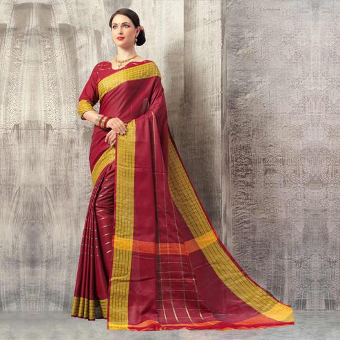 Preferable Dark Magenta Pink Colored Casual Wear Cotton Saree
