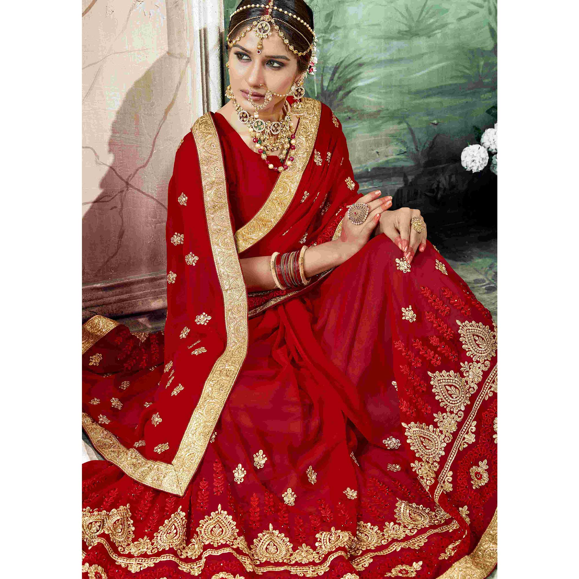 Beautiful Red Colored Partywear Embroidered Georgette Saree