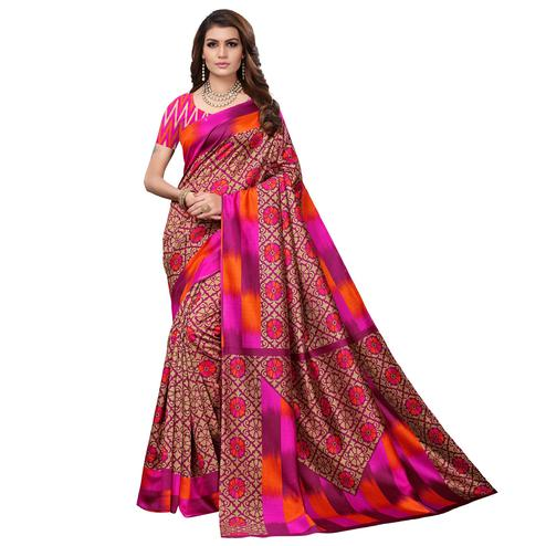 Intricate Pink - Beige Colored Casual Wear Printed Art Silk Saree