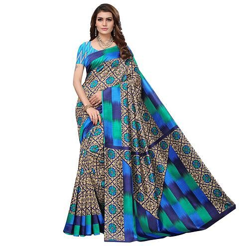 Desirable Blue - Beige Colored Casual Wear Printed Art Silk Saree