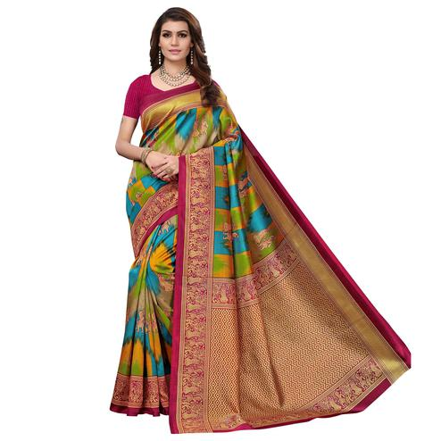 Sophisticated Magenta Pink - Multi Colored Casual Wear Printed Art Silk Saree