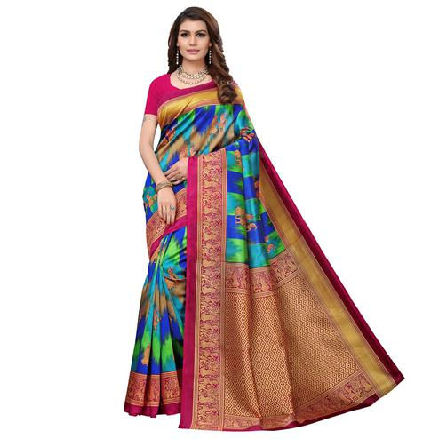 Demanding Pink - Multi Color Casual Wear Printed Art Silk Saree