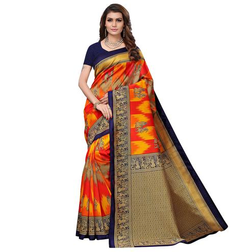 Pleasant Navy Blue - Multi Colored Casual Wear Printed Art Silk Saree
