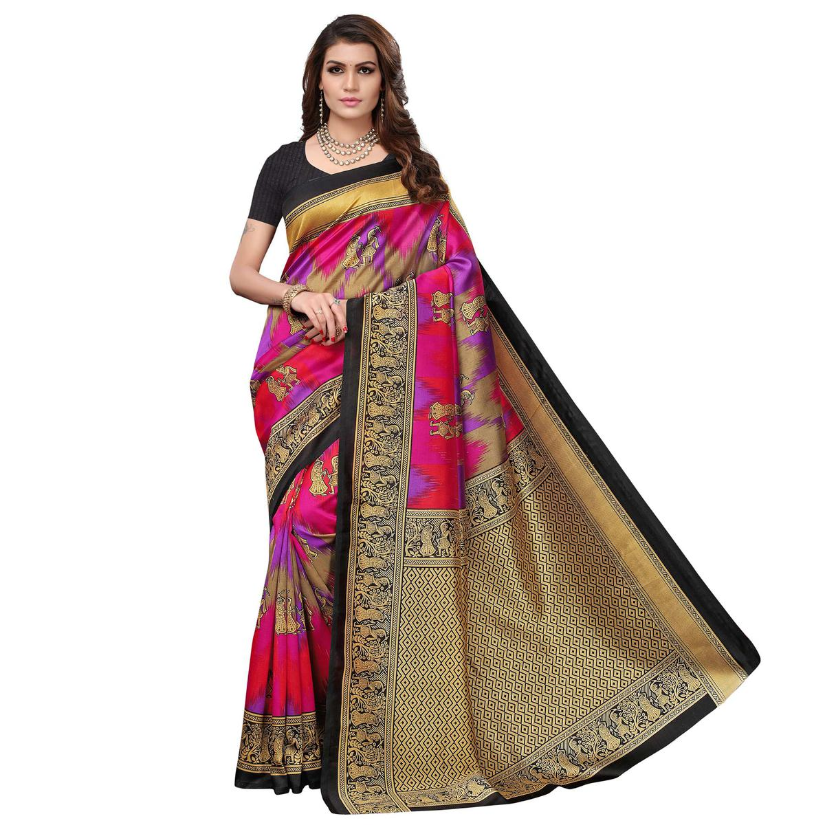 Unique Black - Multi Colored Casual Wear Printed Art Silk Saree