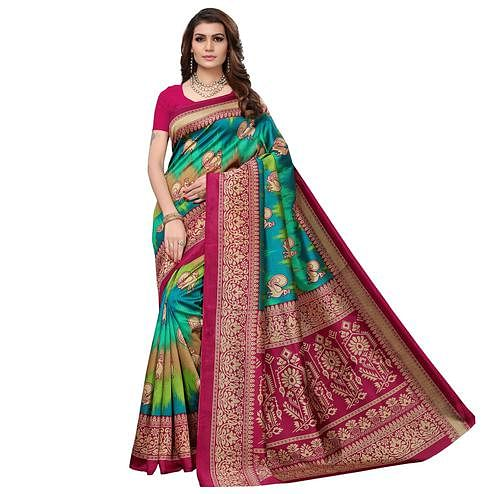 Refreshing Pink - Multi Colored Casual Wear Printed Art Silk Saree