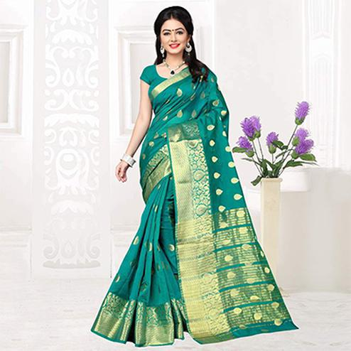 Dark Green Silk Woven Saree