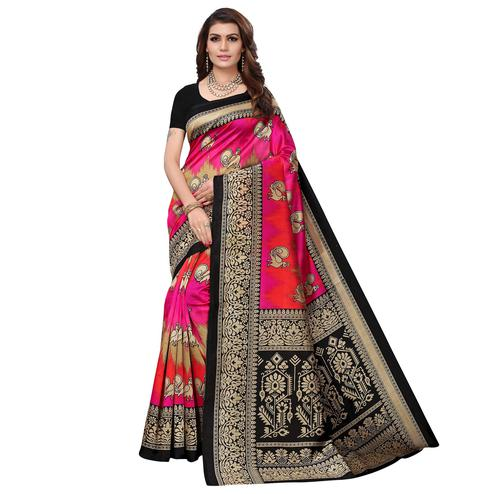 Elegant Black - Multi  Colored Casual Wear Printed Art Silk Saree